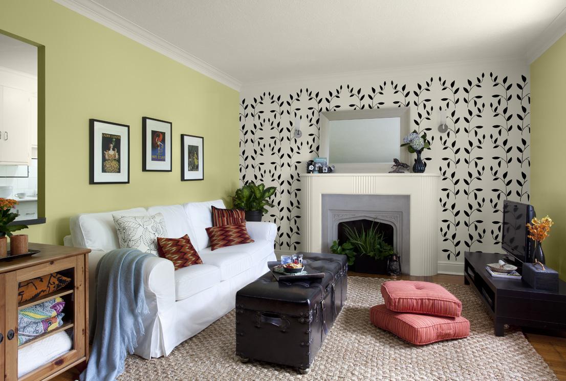 Оливковый цвет в интерьере гостиной