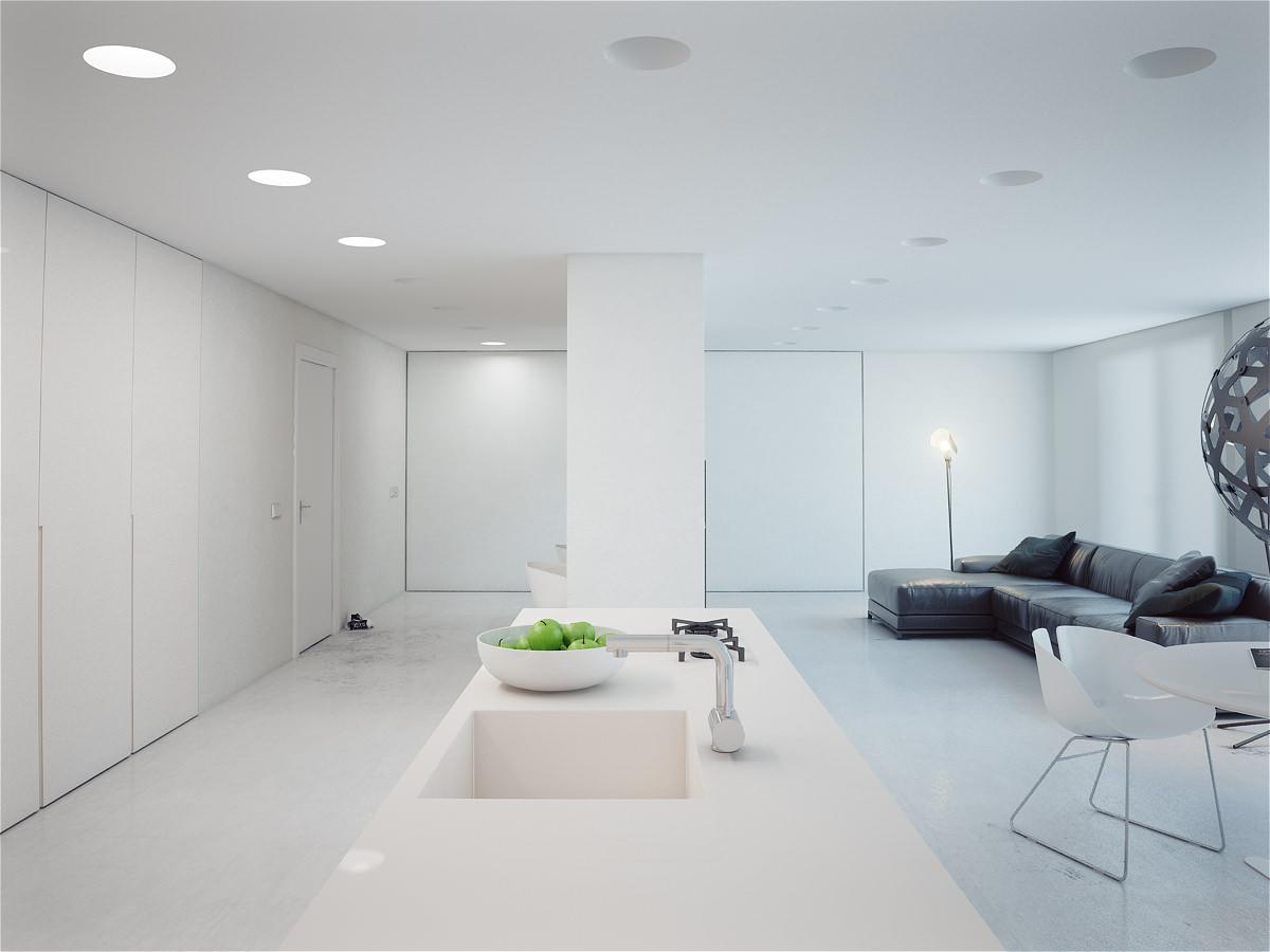 Черный диван в белой квартире-студии в стиле минимализм