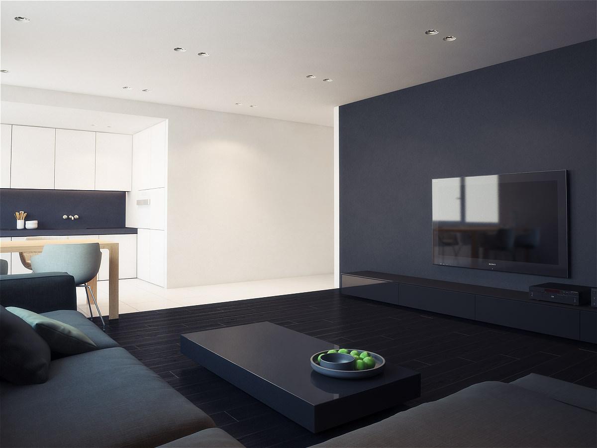 Черно-белый интерьер гостиной-кухни в стиле минимализм
