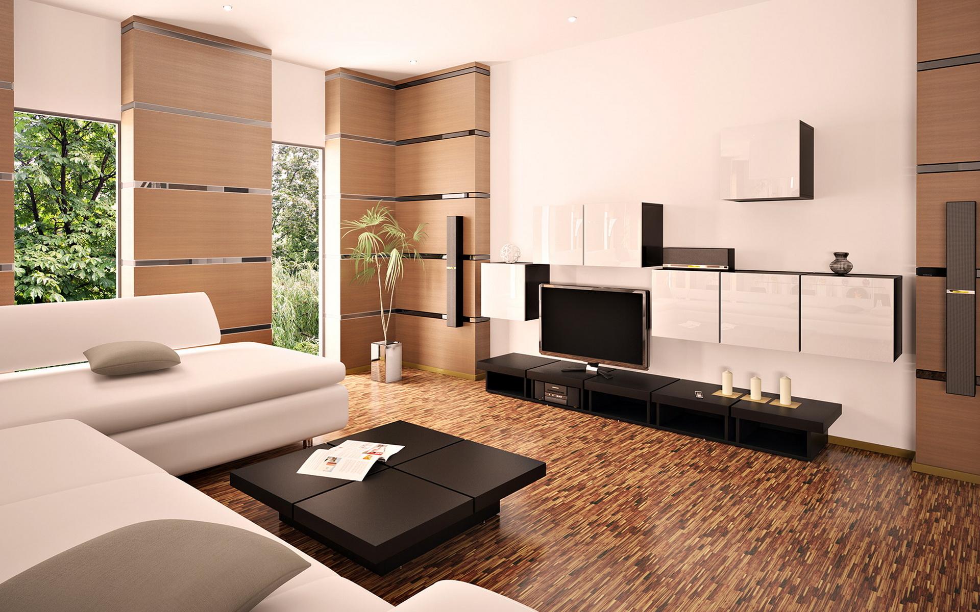 Бело-коричневый интерьер минималистичной гостиной