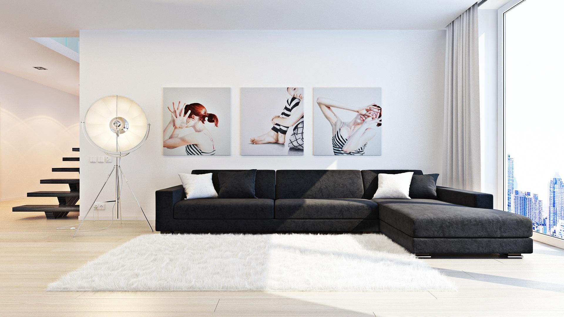 Контрастный интерьер гостиной в стиле минимализм
