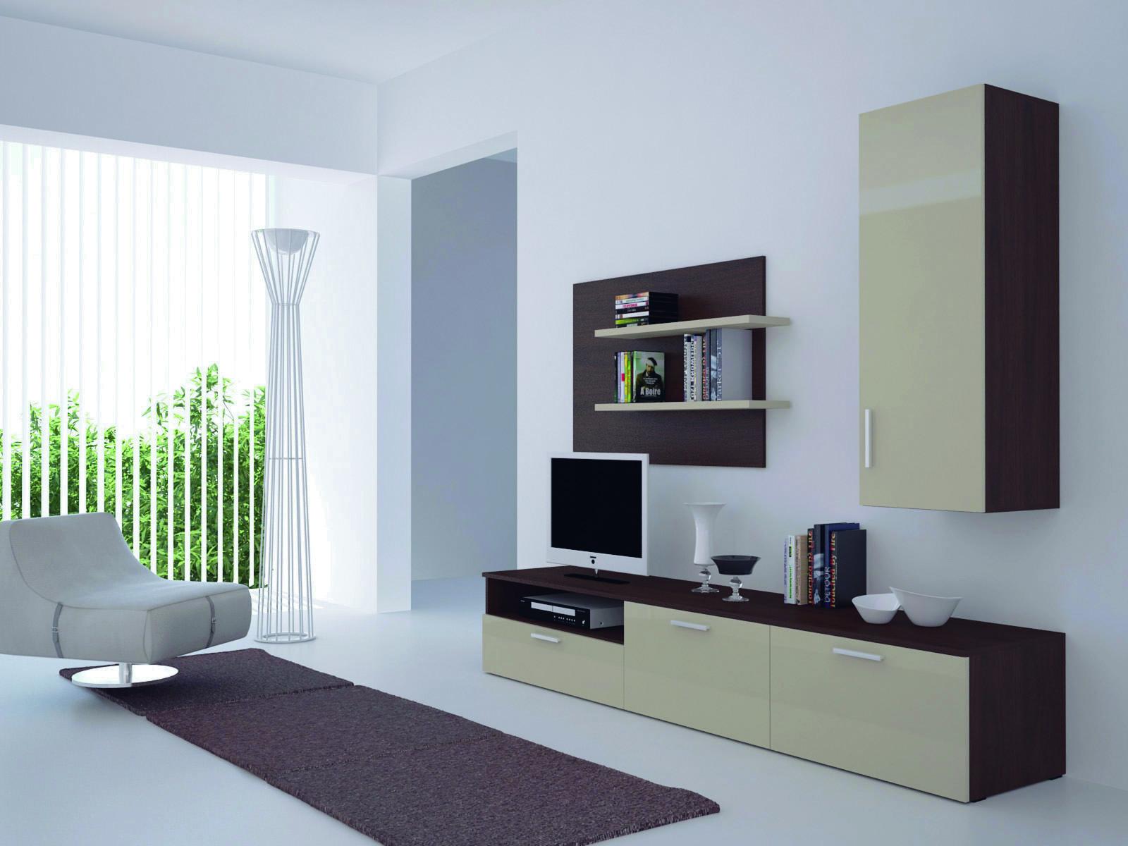 Белый, бежевый и коричневый цвета в интерьере гостиной в стиле минимализм