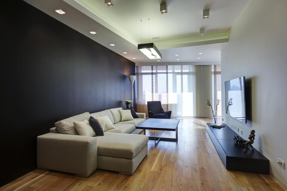 Черно-белая прямоугольная гостиная