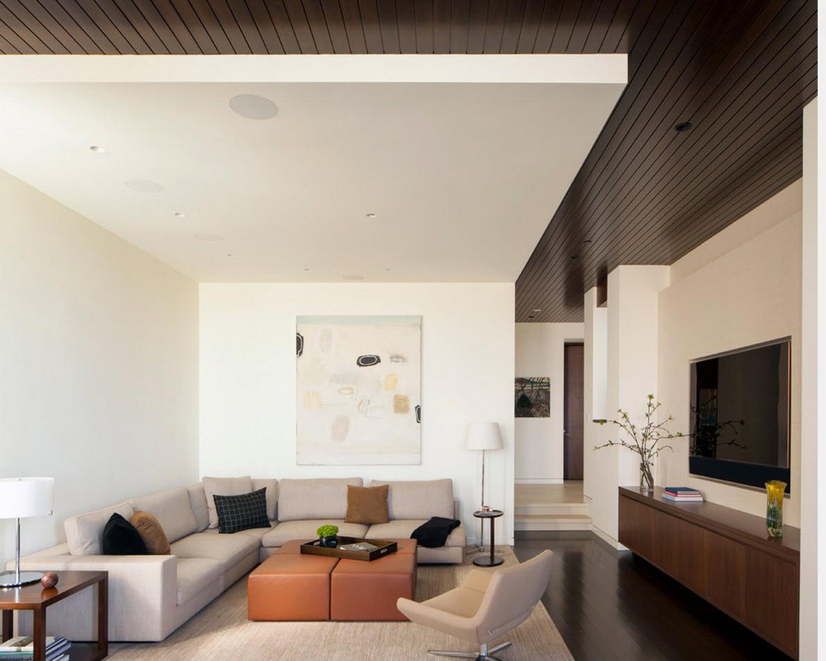 Бежевый, черный и белый цвета в гостиной в стиле минимализм