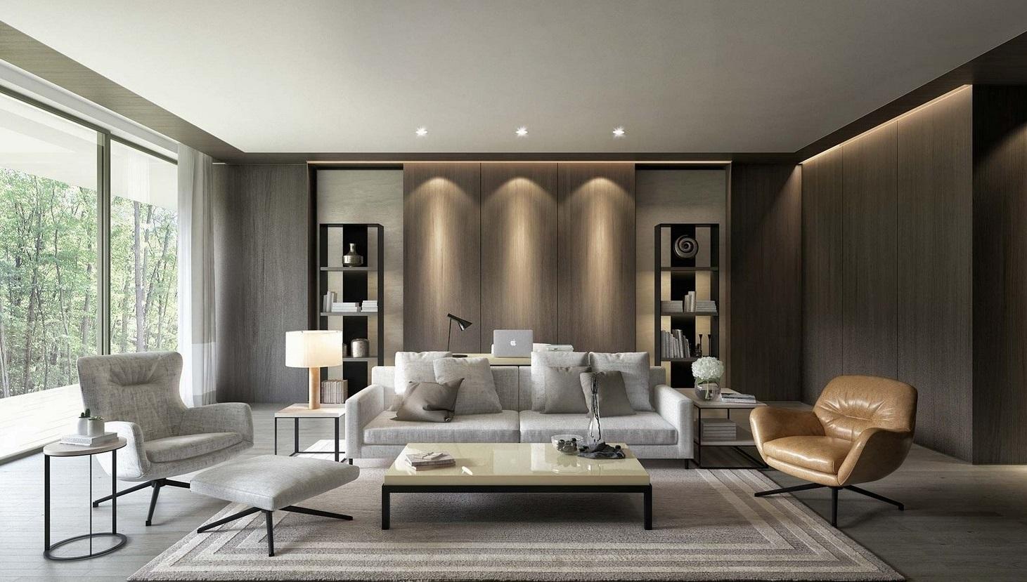 Гостиная в стиле модерн в спокойных тонах