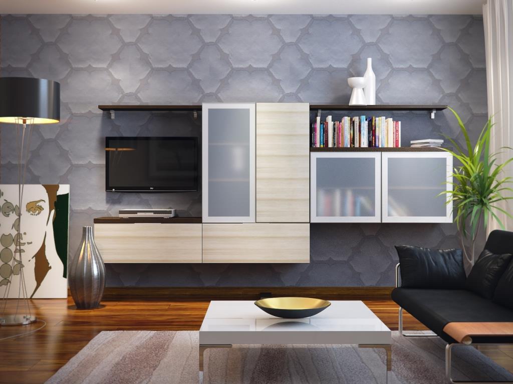 Коричневый пол в гостиной в стиле модерн