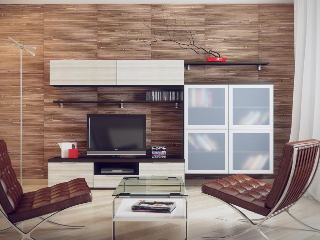 Кожаные кресла в гостиной в стиле модерн