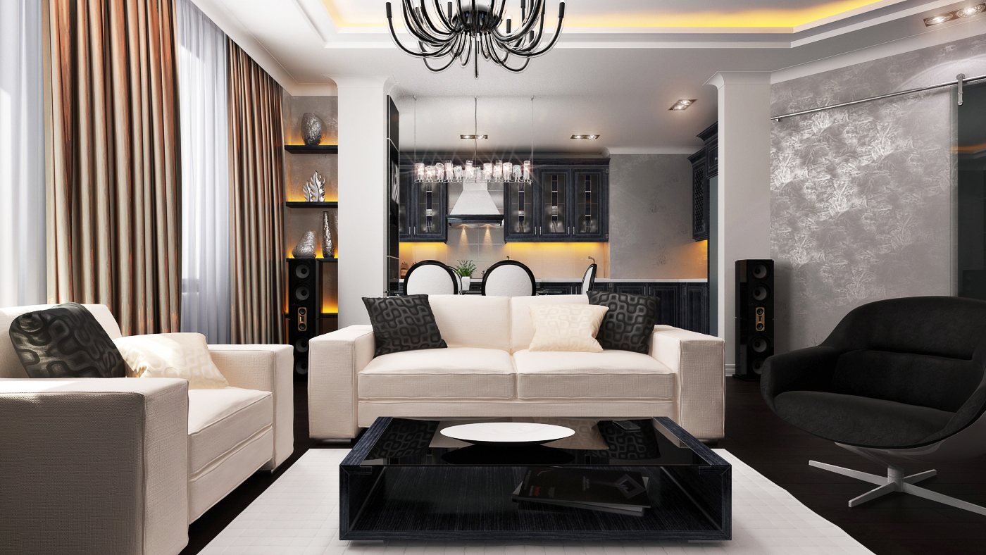 Грамотное зонирование гостиной-кухни в стиле модерн