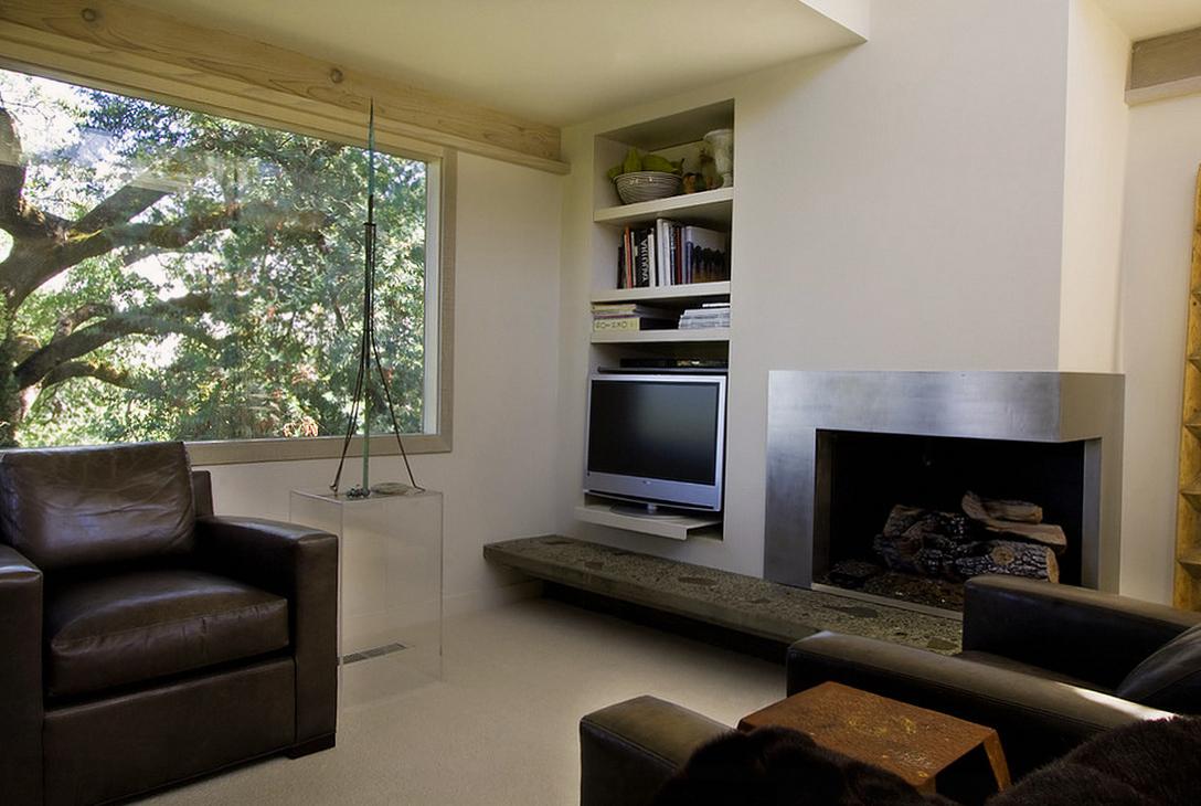 Современная гостиная в стиле модерн с камином
