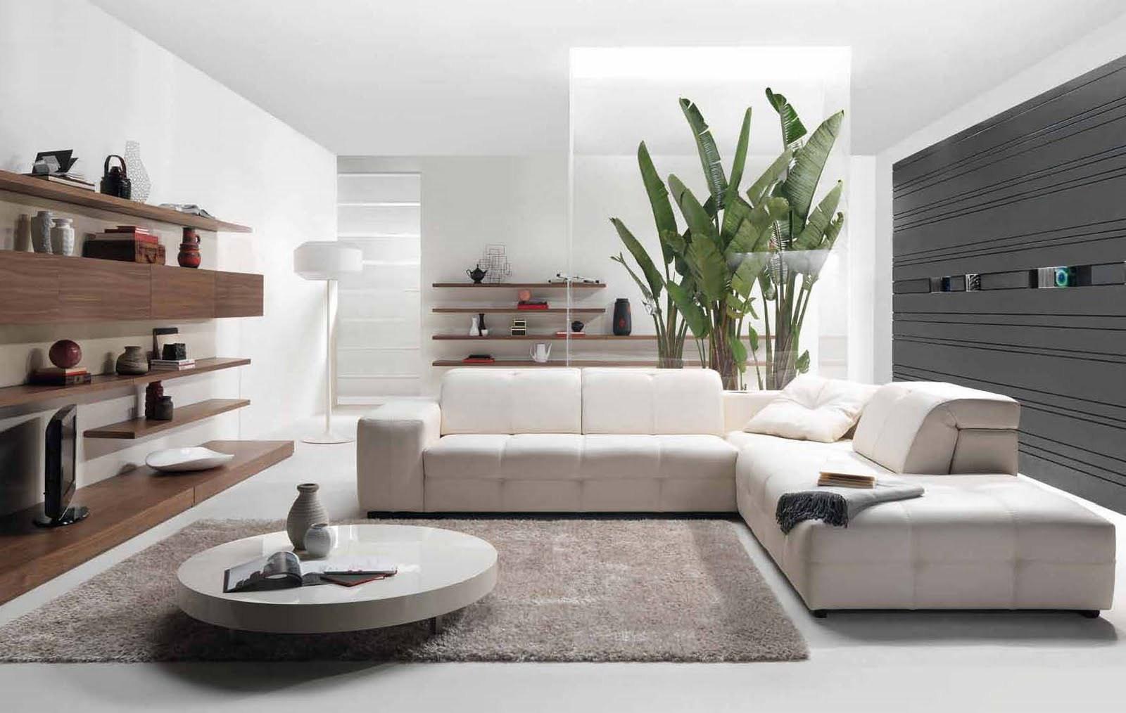 Аксессуары и белый угловой диван в гостиной в стиле модерн
