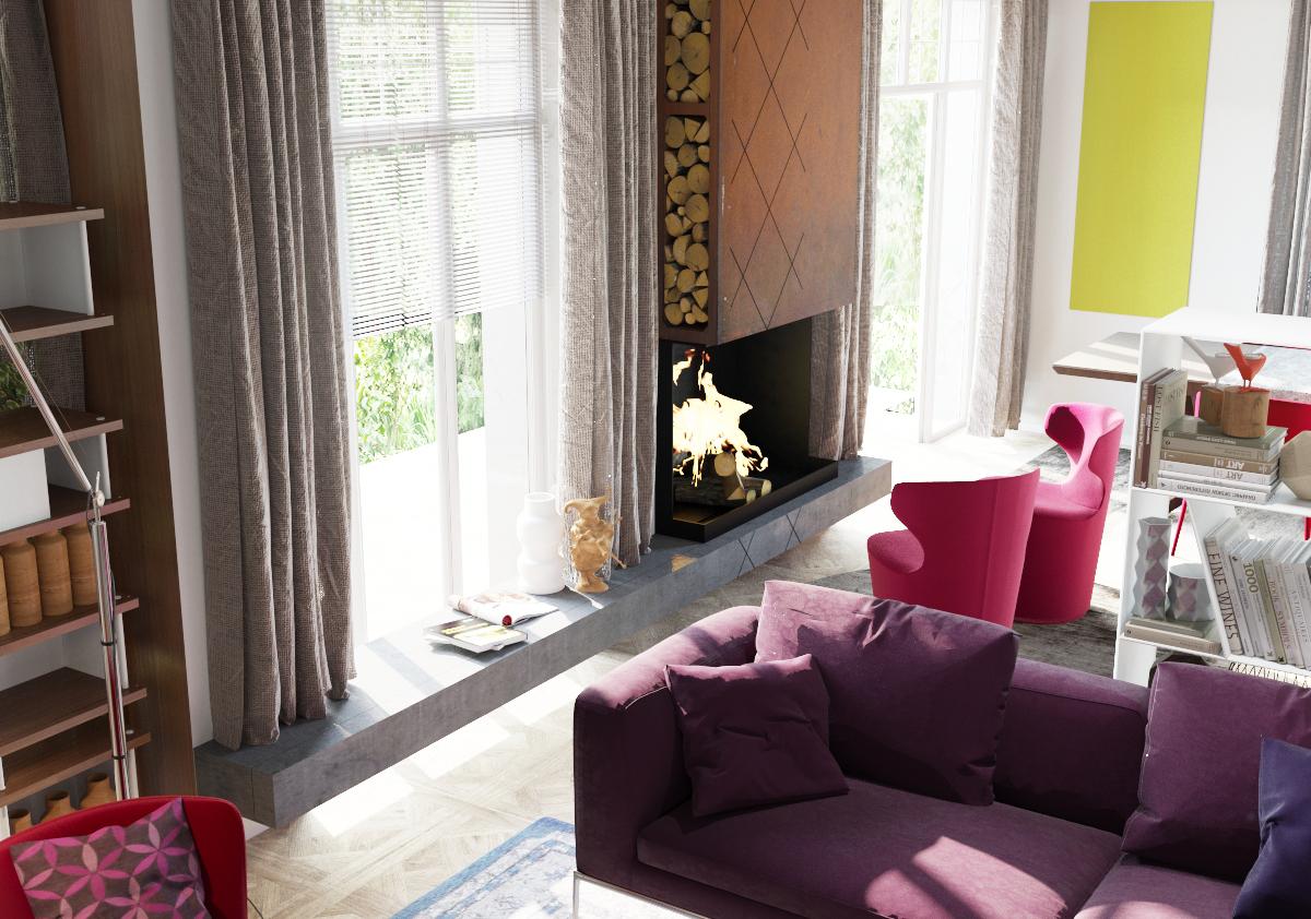 Гостиная в стиле модерн с яркими акцентами и камином