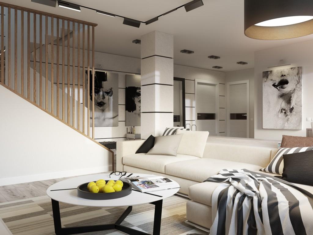 Черно-белые стены в гостиной в стиле модерн