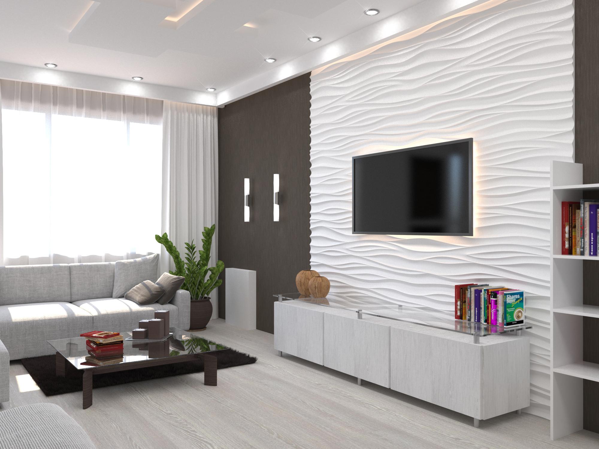 Белый многоуровневый потолок в гостиной в стиле модерн