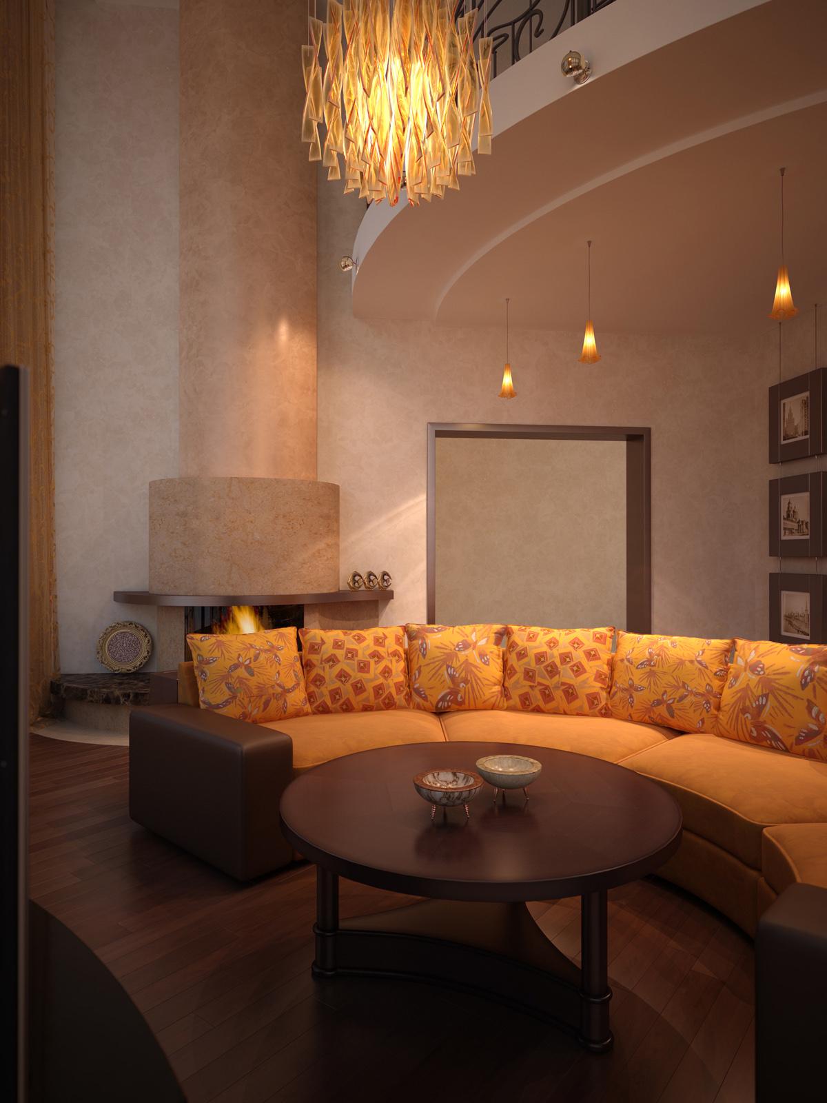 Оранжево-коричневый интерьер гостиной