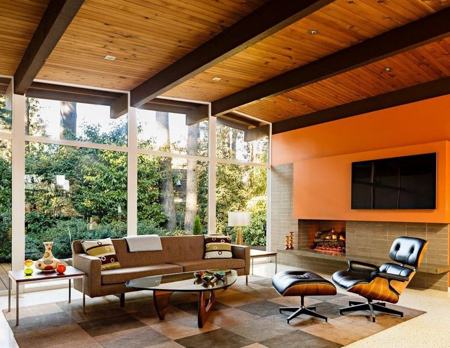 Оранжево-коричневая гостиная