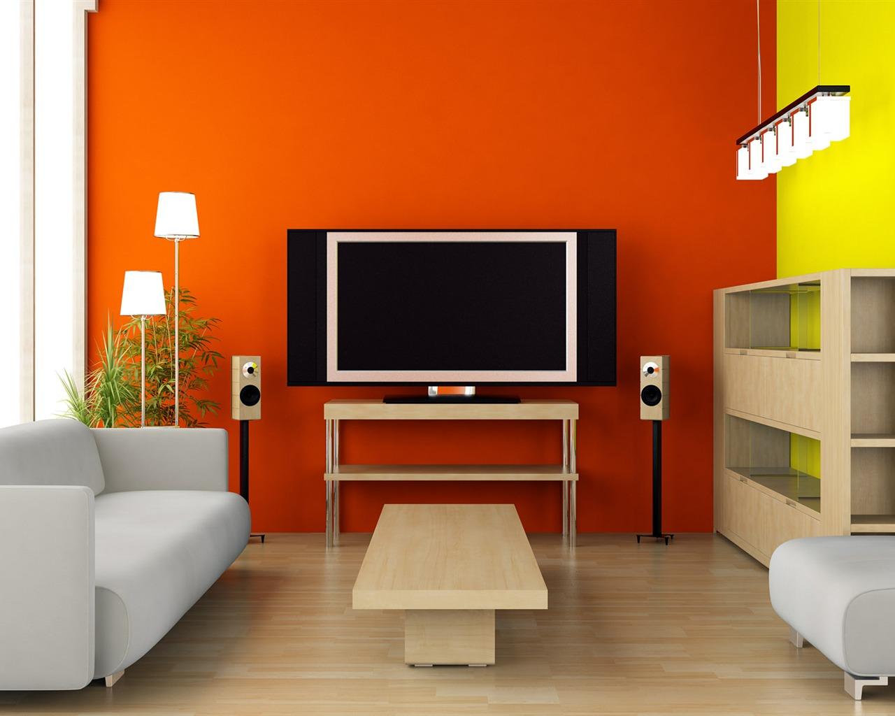 Салатово-оранжевые стены в гостиной