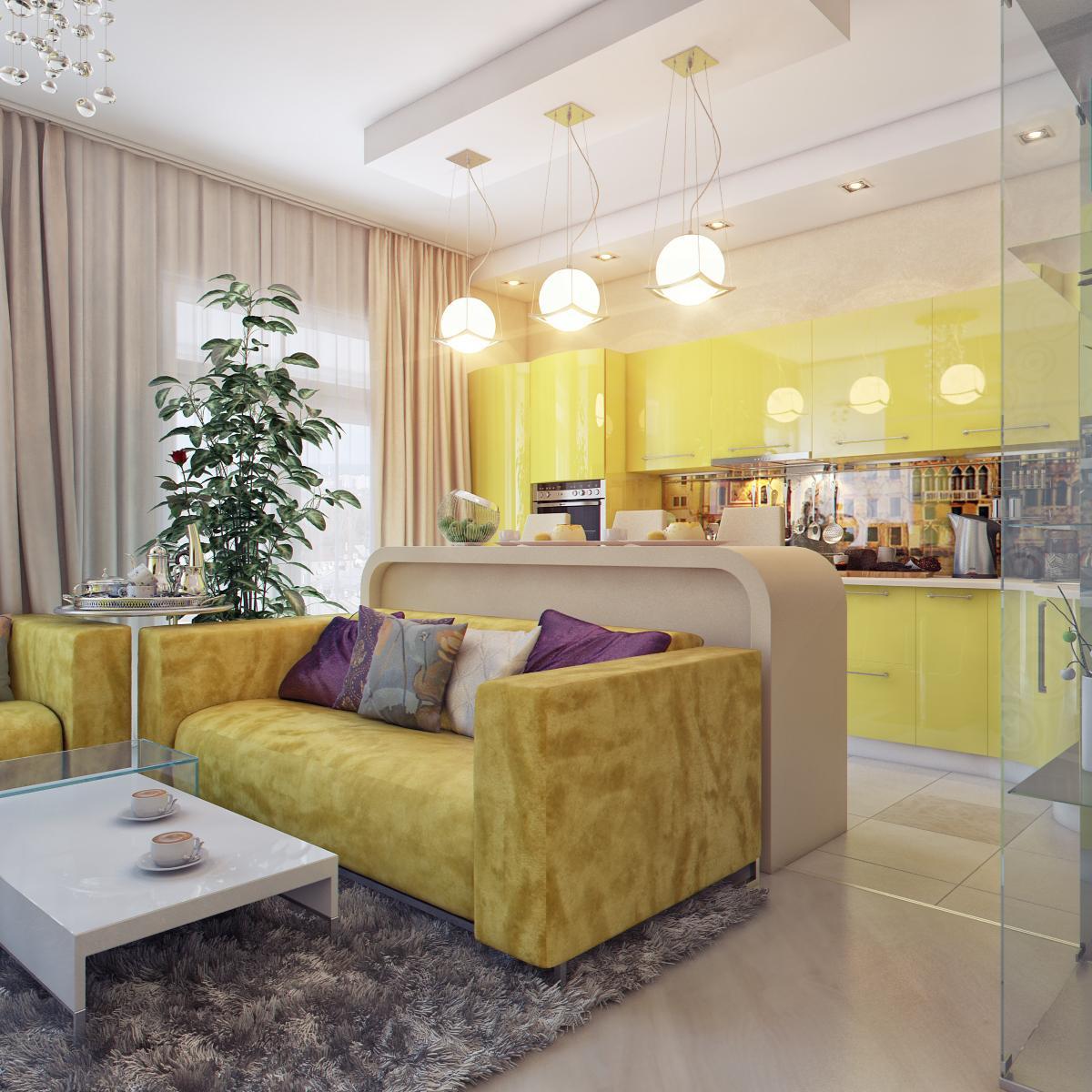 Круглые лампы для освещения гостиной и кухни