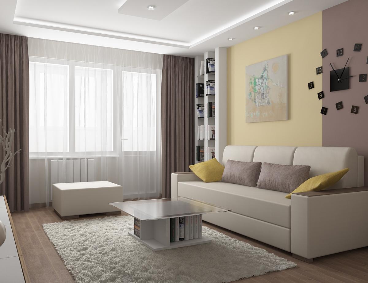 Желтые акценты в современной гостиной