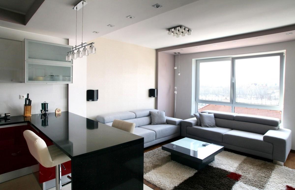 Небольшая современная гостиная-кухня