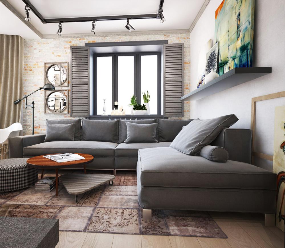 Кирпичная и белая стены в современной гостиной