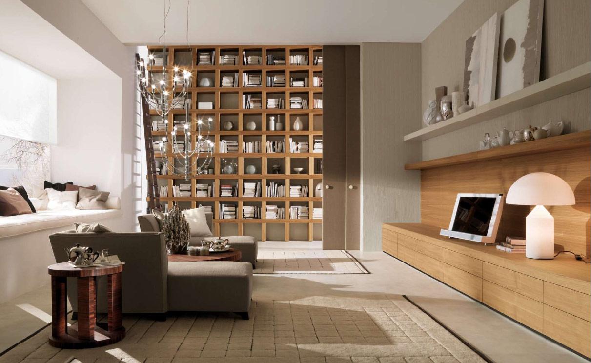 Необычная современная гостиная с раздвижными дверями