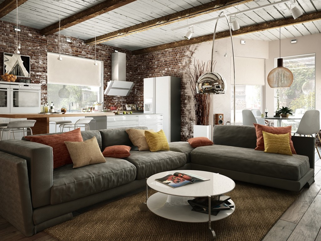 Модульный серый диван в современной гостиной-кухне