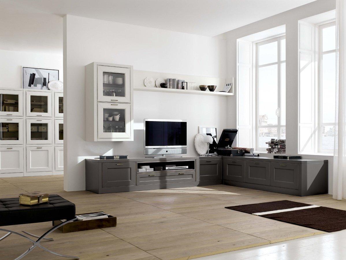 Белый, серый и коричневый цвета в интерьере современной гостиной