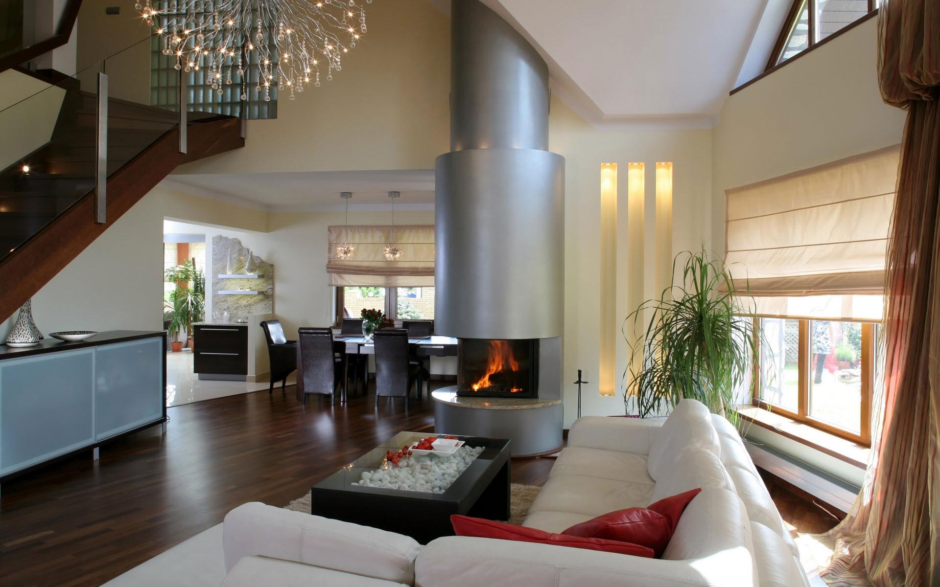 Совмещенная гостиная-кухня в стиле модерн