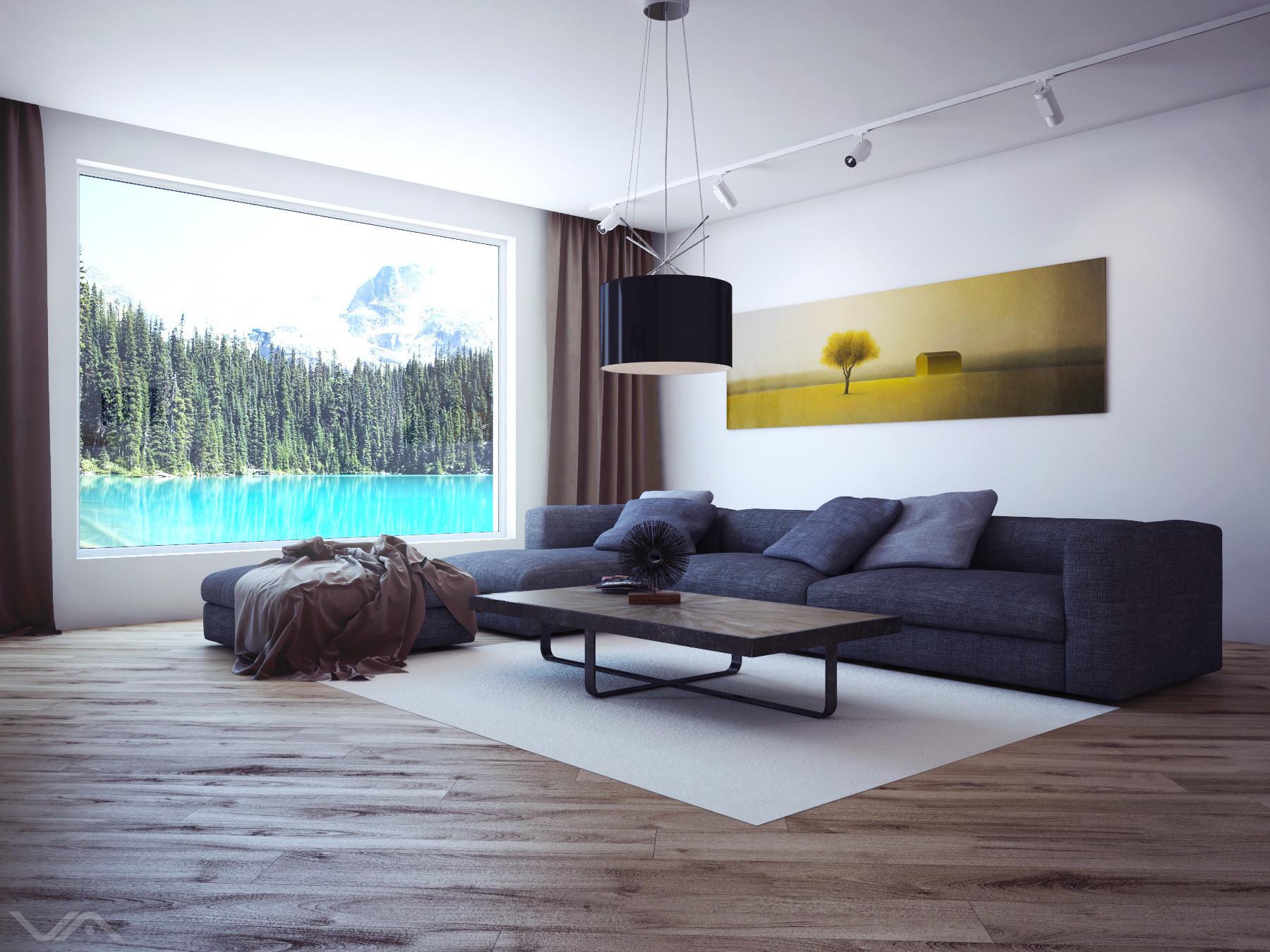 Гостиная с белыми стенами и потолком в стиле минимализм