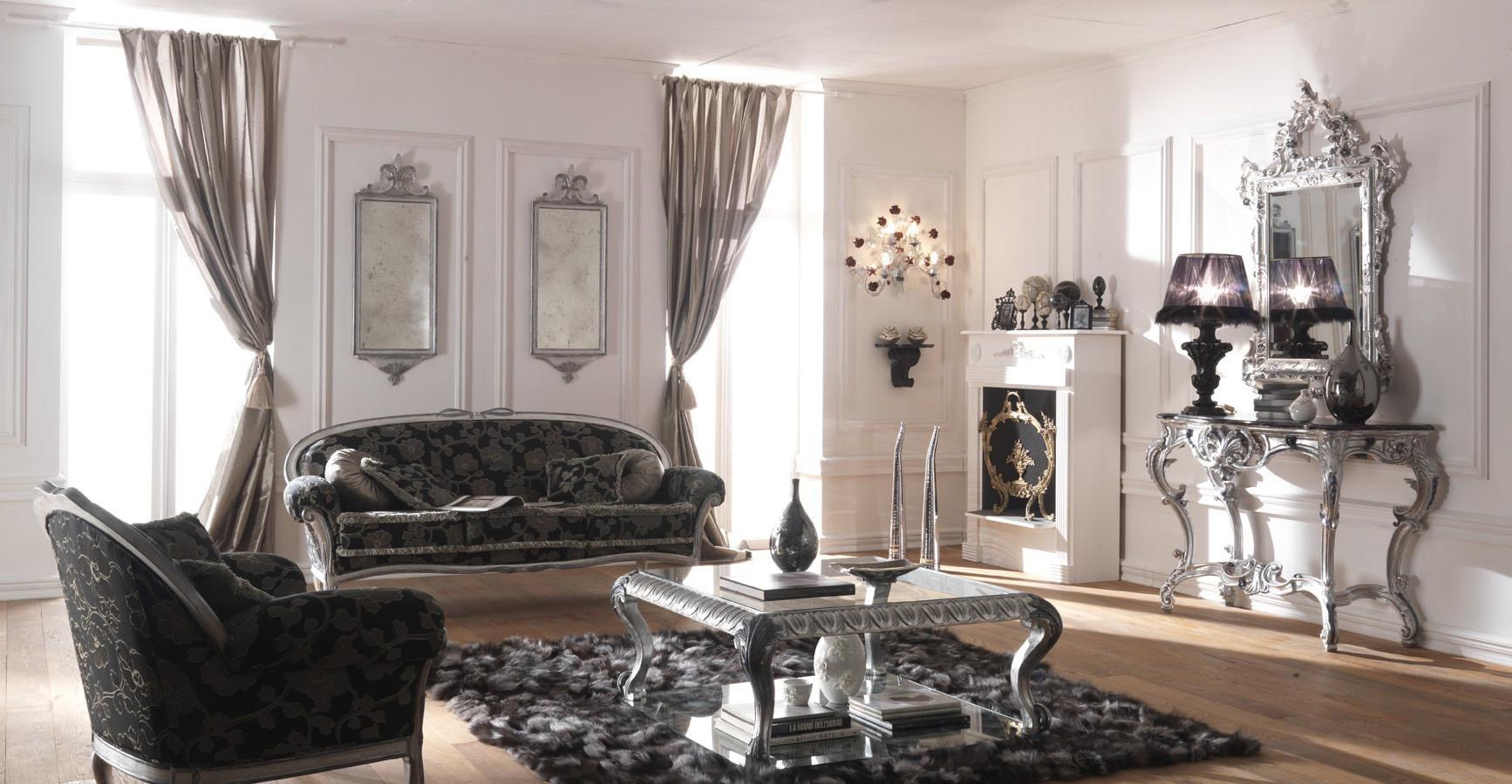 Стильная серо-белая классическая гостиная