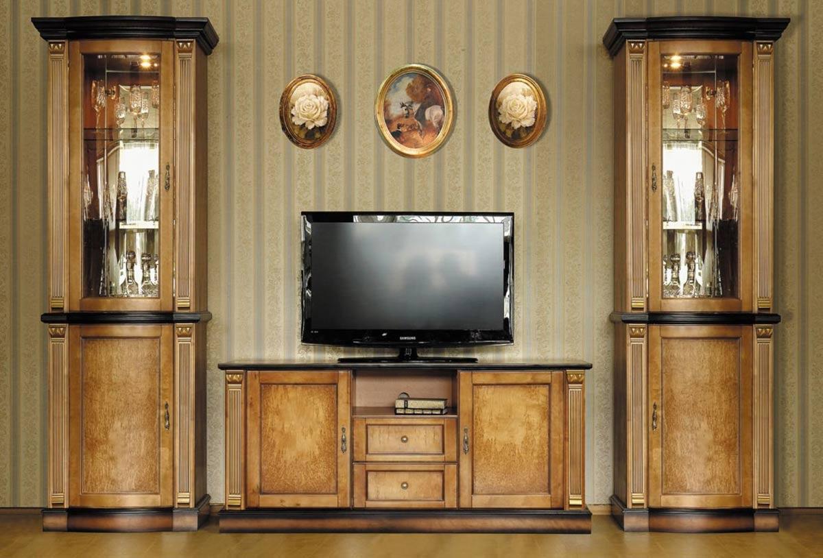 Коричневая гостиная в классическом стиле