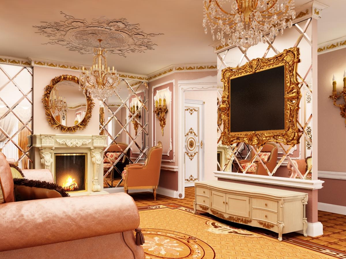Зеркальные панели в интерьере гостиной в классическом стиле