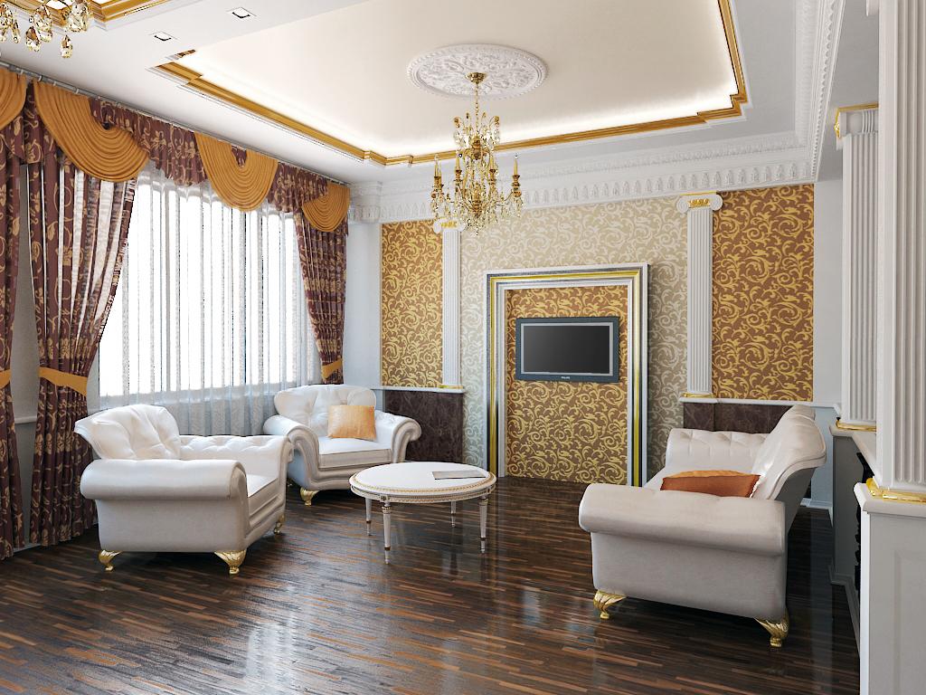 Белый, золотистый и коричневый цвета в гостиной в классическом стиле