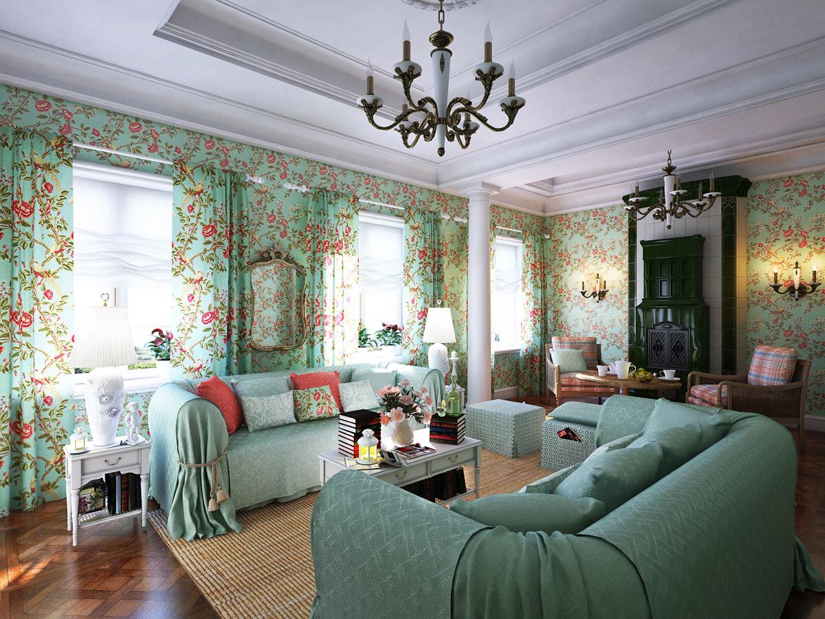 Зелено-кремовая гостиная в стиле прованс