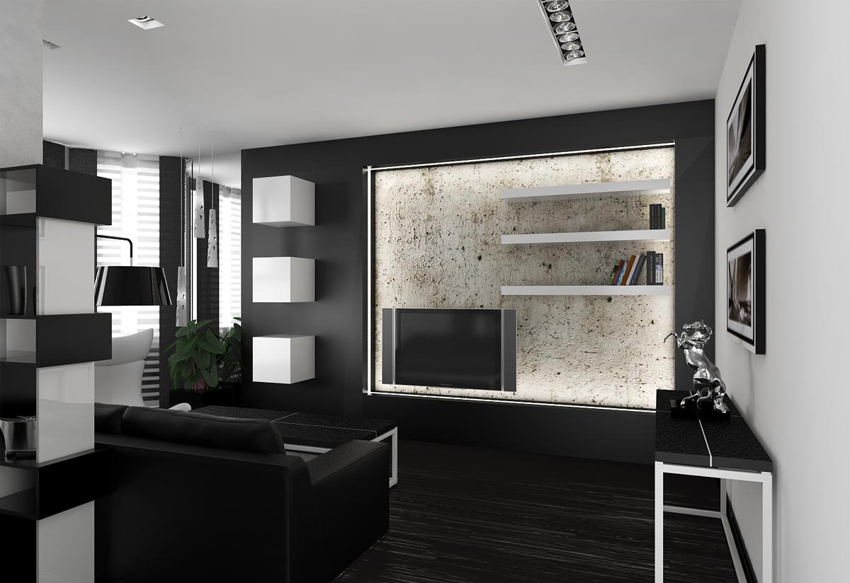 Черные и белые стены в гостиной в стиле хай-тек