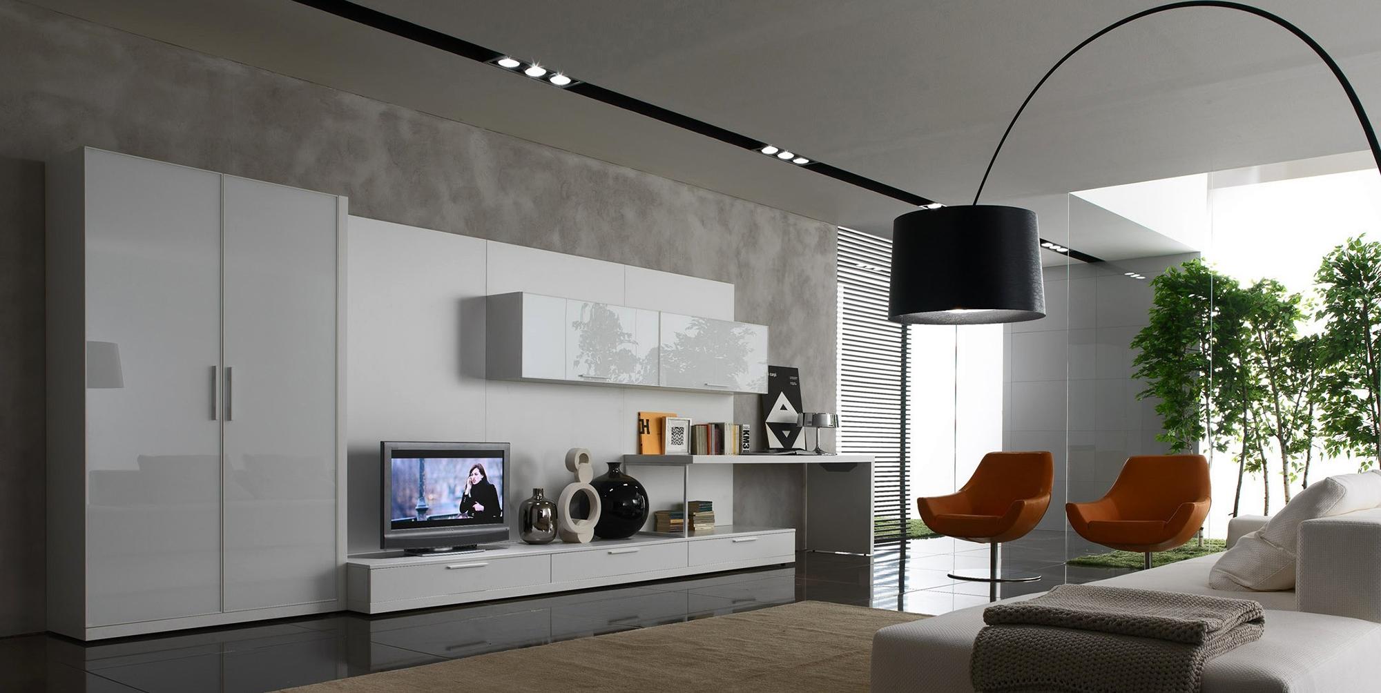 Белая и оранжевая мебель в гостиной в стиле хай-тек