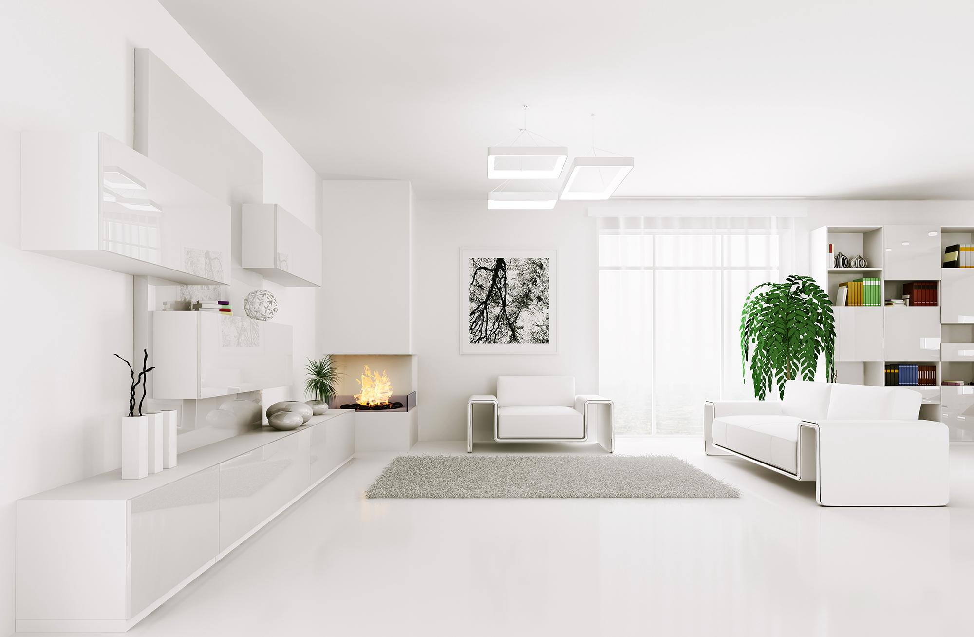 Современная белая люстра в гостиной в стиле хай-тек