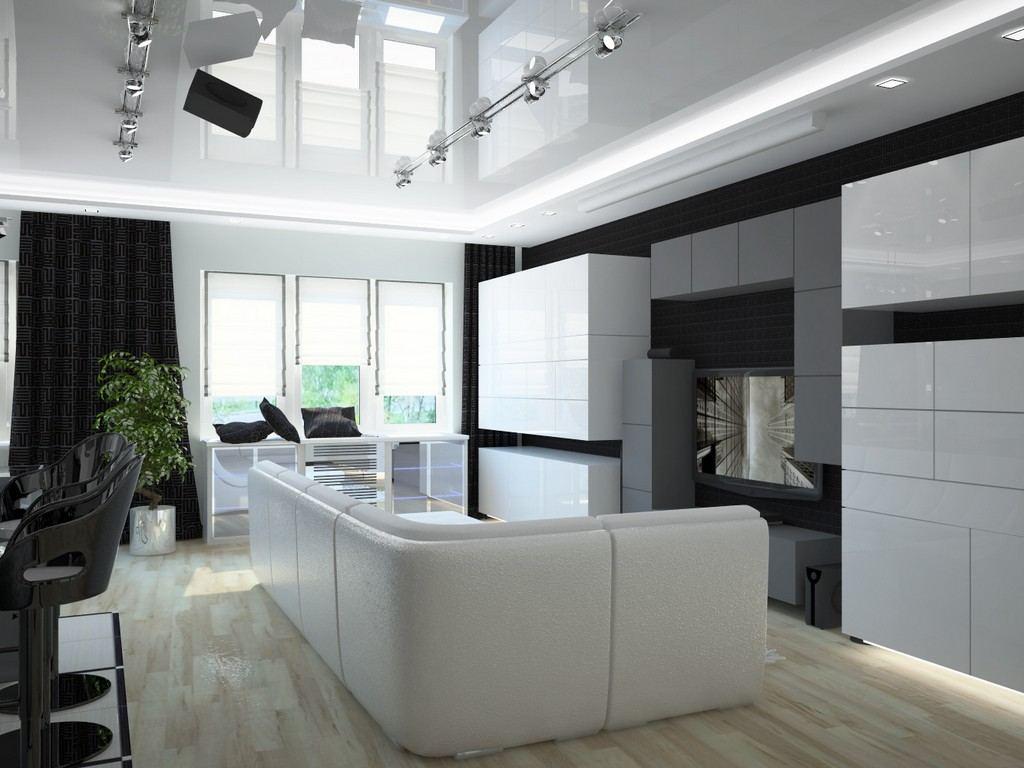 Глянцевый натяжной потолок в гостиной в стиле хай-тек