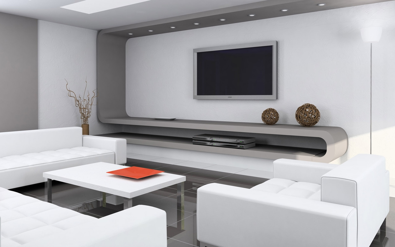Белая мебель в гостиной в стиле хай-тек