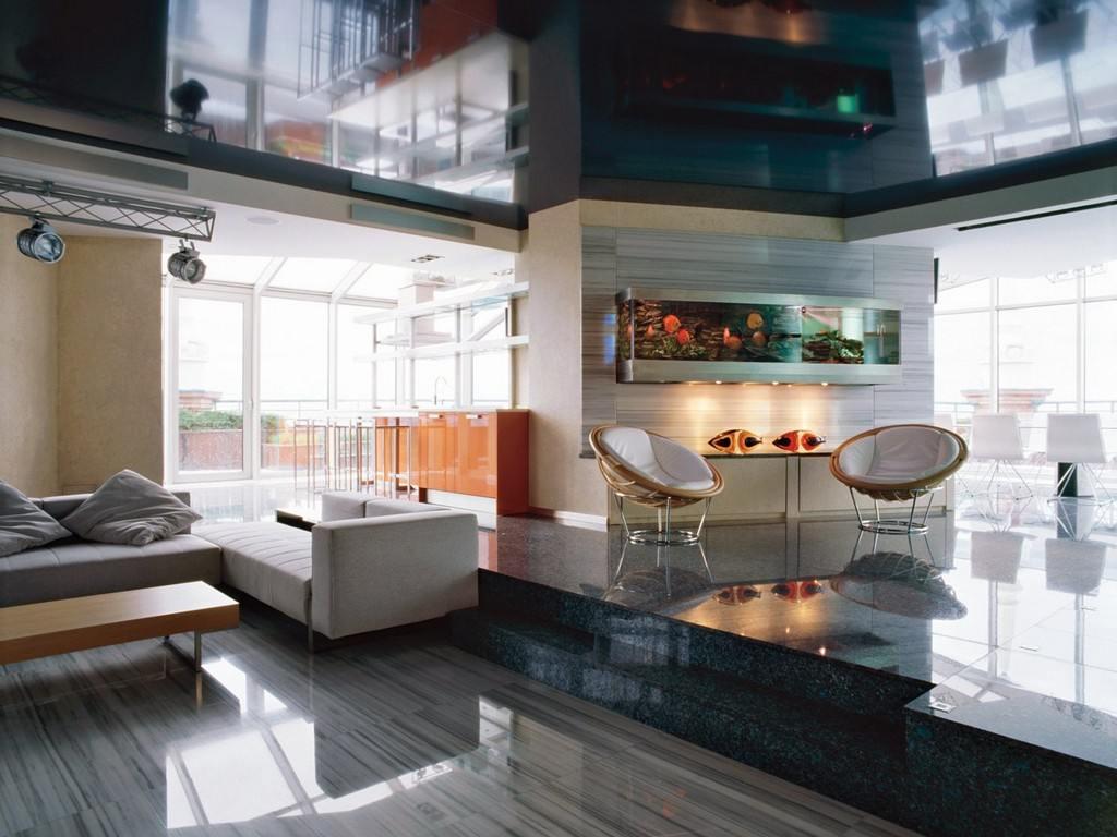 Аквариум в гостиной в стиле хай-тек
