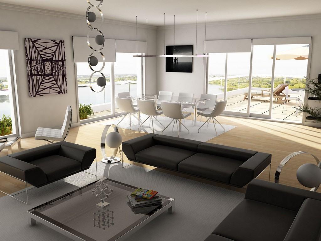 Рулонные белые шторы в гостиной-столовой в стиле хай-тек