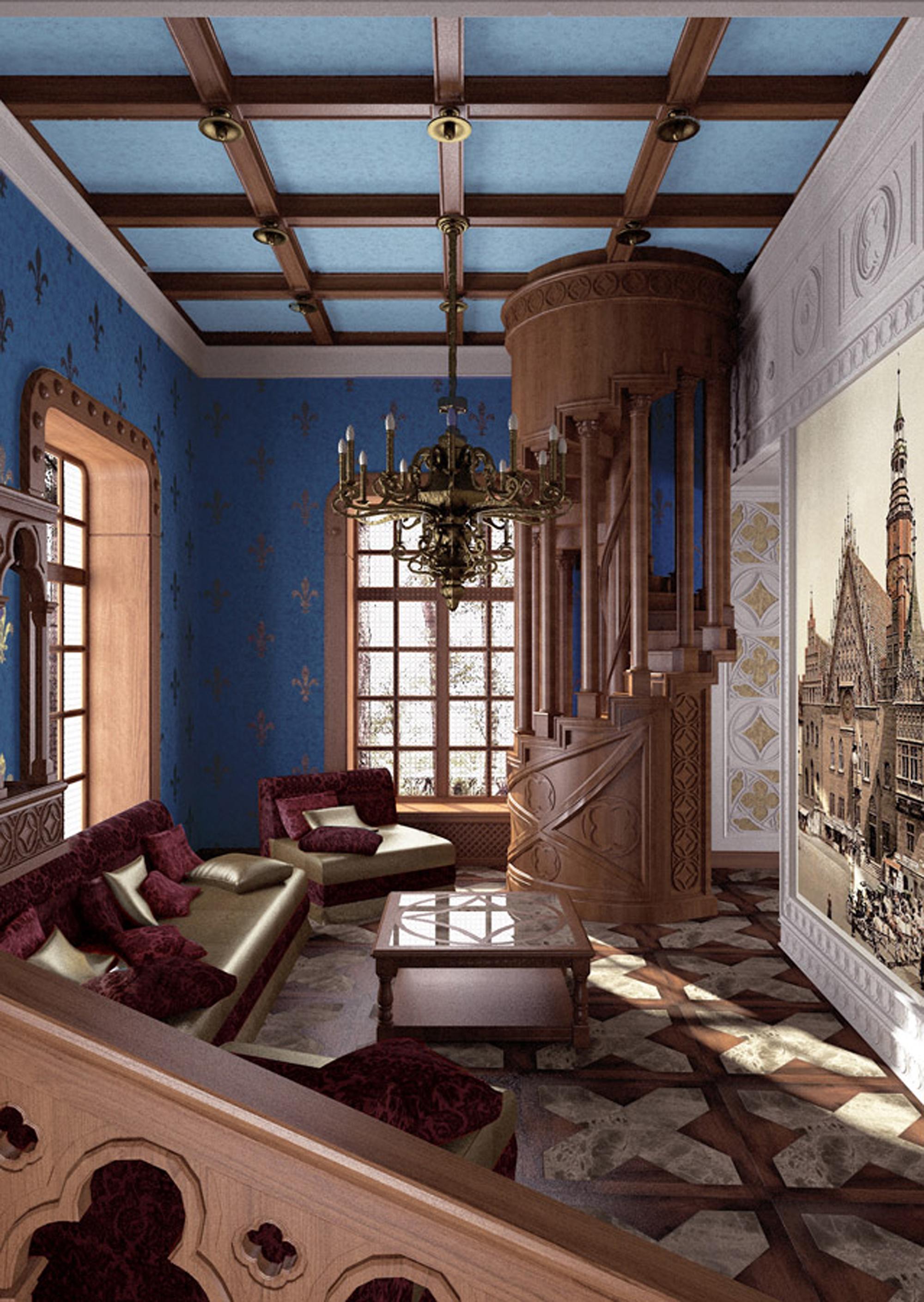 Красивая лестница в гостиной в готическом стиле