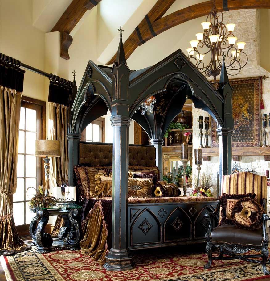 Балки на потолке в спальне в готическом стиле