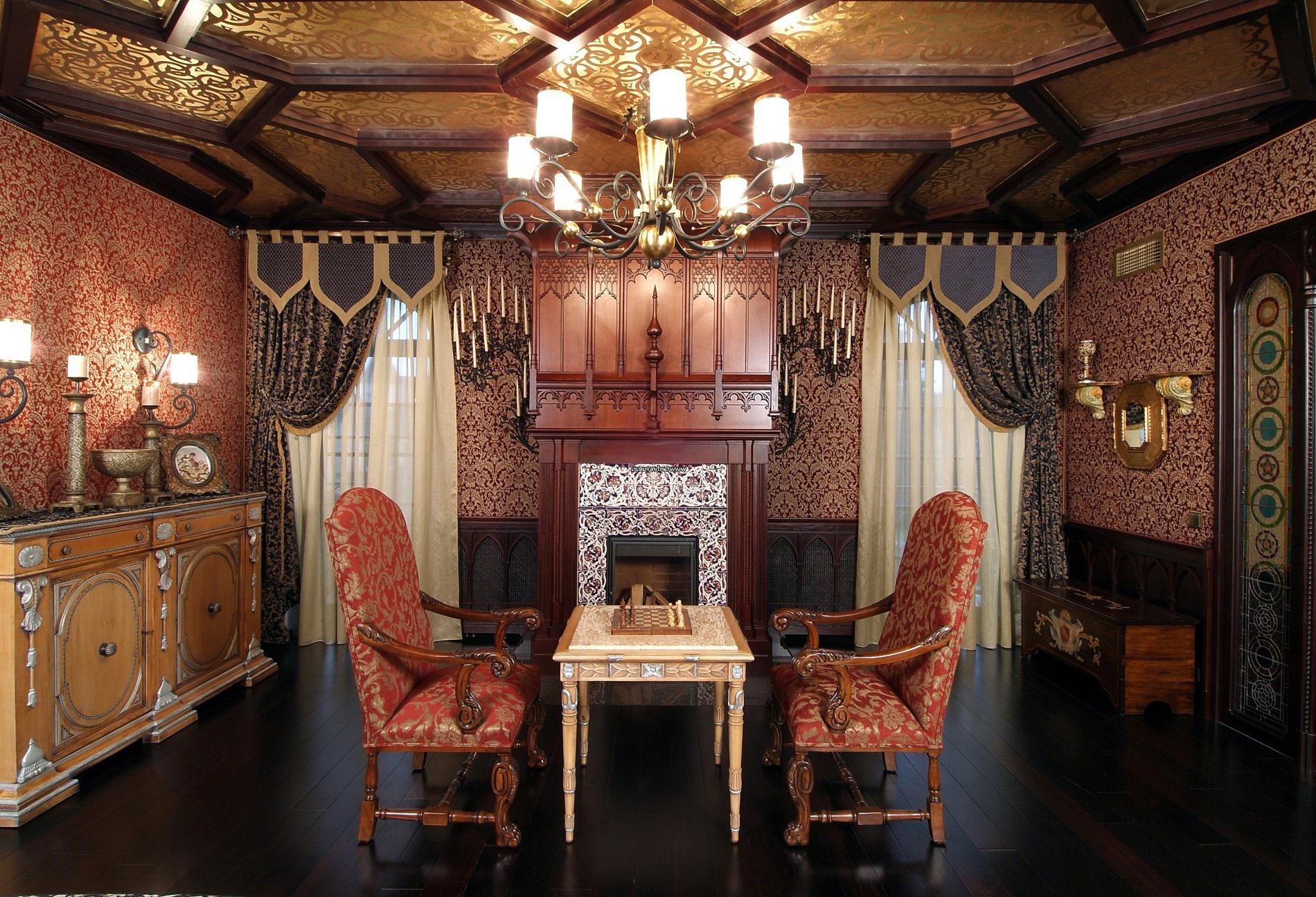 Гостиная с камином в готическом стиле