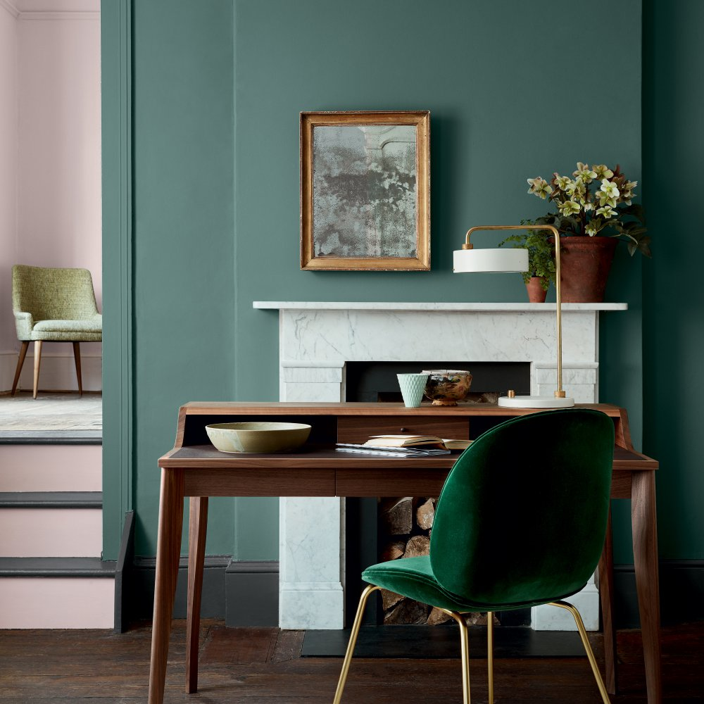 Оливковый цвет холодного оттенка в интерьере