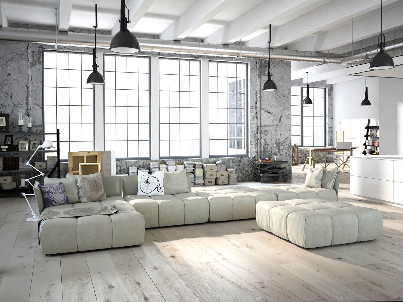 Бело-серый индустриальный интерьер гостиной