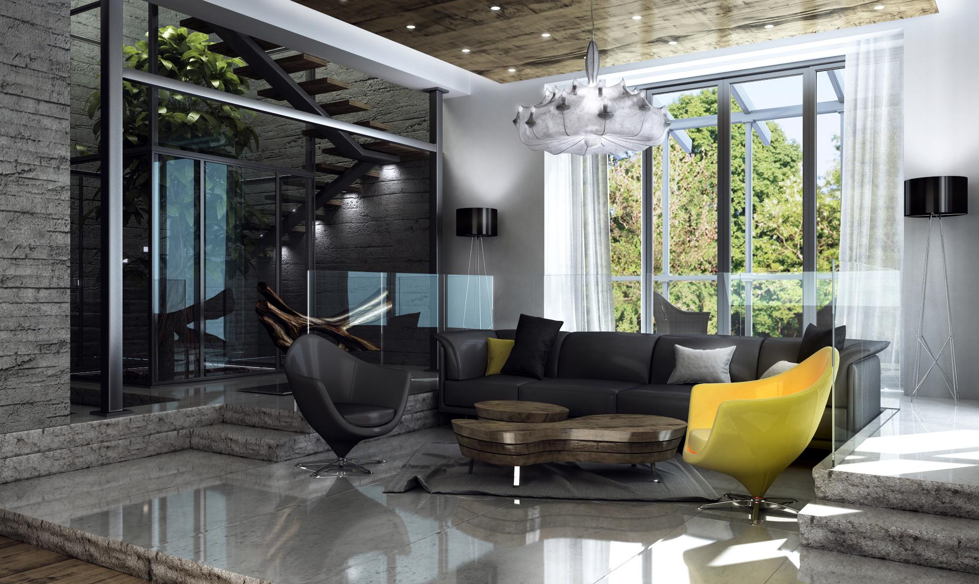 Черно-серая гостиная в индустриальном стиле
