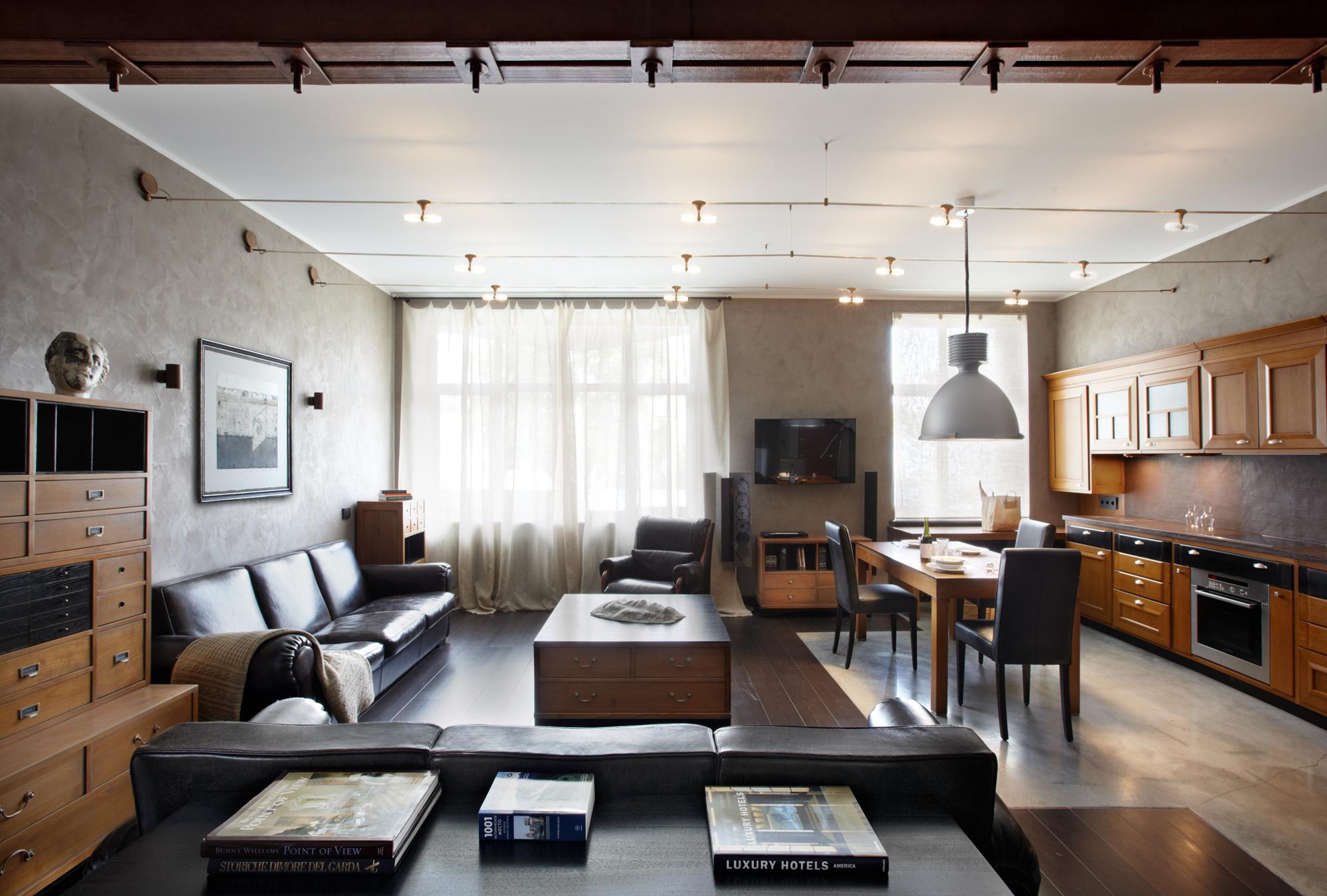 Совмещенная гостиная и кухня в индустриальном стиле