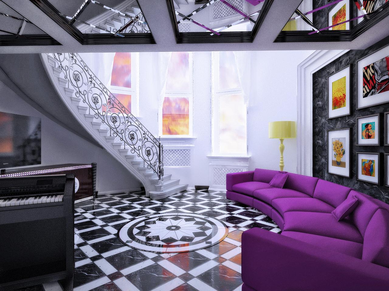 Необычный интерьер двухуровневой квартиры