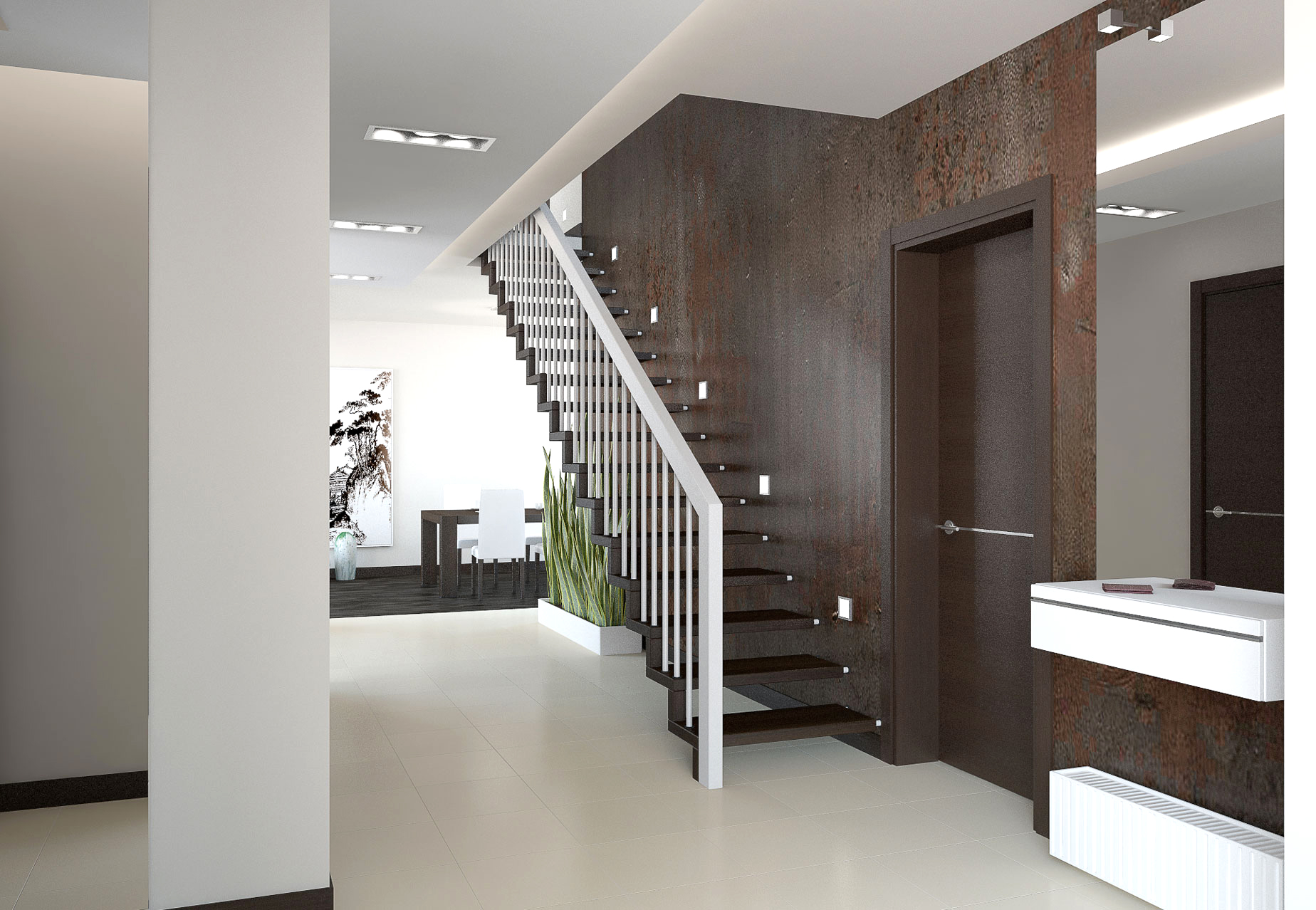 Коричнево-белый дизайн двухуровневой квартиры